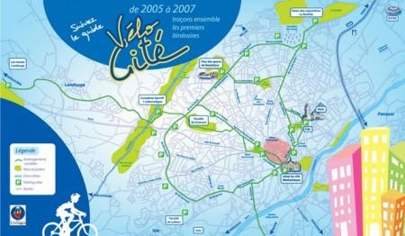 Plan des pistes vélocité, Véli vélo Limoges